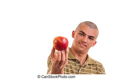 Closeup portrait of a healthy young man holding and offering...