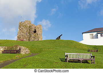 Ruins and cannon on Tenby hill Pembrokeshire Wales UK