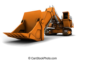 Digger - Larger orange digger isolated on white background