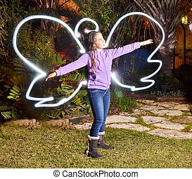 Teenage angel light painting - Teenage angel - light...