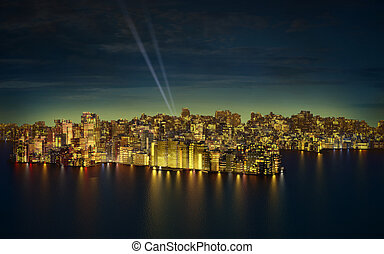 Big city by night - Very high resolution 3d rendering of a...
