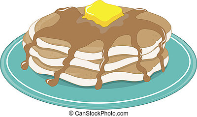 Pancakes  - A stack of pancakes with syrup and butter