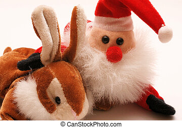 easter-bunny and Santa Claus working together as a Team,...