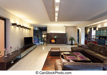 Living room area - A luxurious living room with stylish...