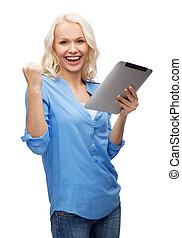 happy young woman with tablet pc computer