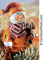 snow-man - figure of a snow-man in warm orange colours