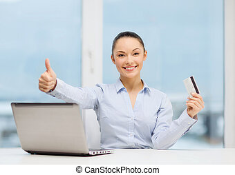 businesswoman with laptop in office - business, investing...