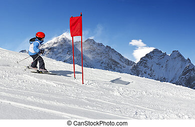 Ski School Slalom - Young child during his ski school slalom...
