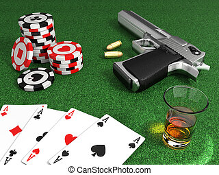 Gangster poker table - Very high resolution 3d rendering of...
