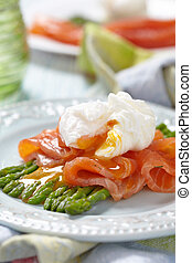 Poached egg with salmon and asparagus - Poached egg with...