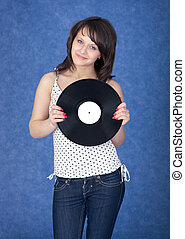 Lady with vinyl record