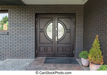 Wooden door with glass - Main entrance to house - Wooden...