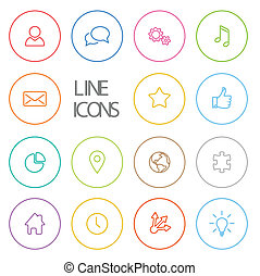 Modern outline circle thin line icon set - Vector Modern...