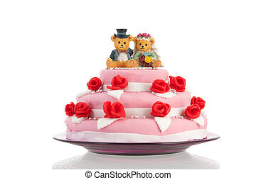 wedding cake with bride and groom - Pink wedding cake with...