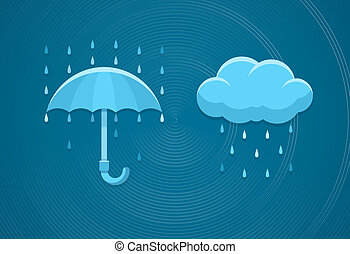 Rainy weather flat icons with cloud rain drops and umbrella