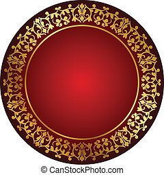 red frame with gold ornament