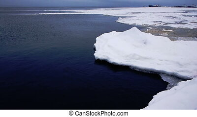 Floating of ice, Onego lake - Close-up view on floating ice...