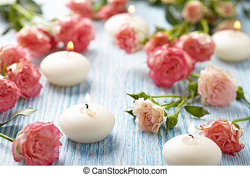 Pink roses and candles