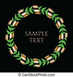 laurel wreath with gold ribbon