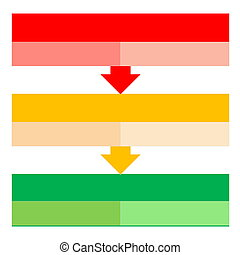 Process arrows - Red, orange and green shape to describe...