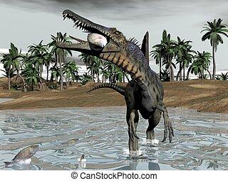 Spinosaurus dinosaur eating fish - 3D render - One...