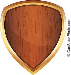 wooden shield - Vector illustration of wooden shield
