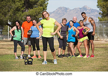 Woman Posing with Fitness Class