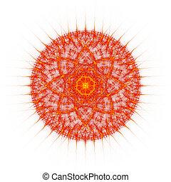 Flame tongues mandala on white background - Unusual flame...