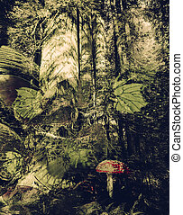 Forest Fantasy - Old growth redwood forest with mushroom...