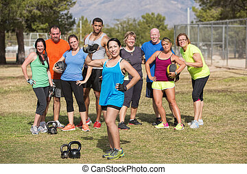 Cute Woman Posing with Fitness Group