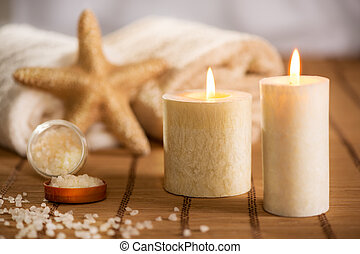 Aroma Therapy - Tranquil scene with Towel, bath salt,...