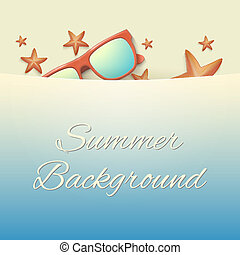 Sandy beach with starfish and sunglasses Summer background -...