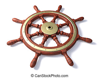 Old boat steering wheel - Very high resolution 3d rendering...