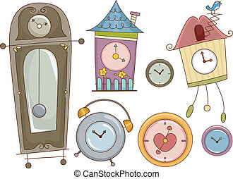 Clock Design Elements - Illustration Featuring Colorful...