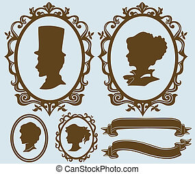 Cameo Design Elements - Illustration Featuring Different...