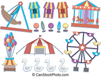 Carnival Elements - Illustration Featuring Different Rides...