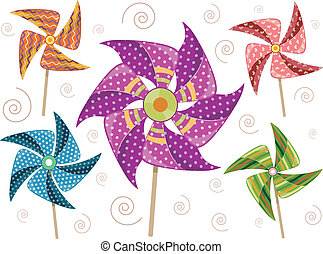 Pinwheel Elements - Illustration of Colorful Pinwheels with...