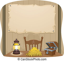 Table Treasure Banner - Banner Illustration Featuring a...