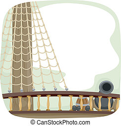 Ship Deck Cannon - Illustration of a Ship Deck with a Cannon...