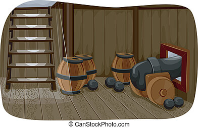 Ship Cannon - Illlustration Featuring a Gun Deck Used to...