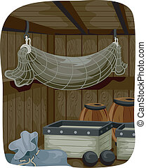 Pirate Ship Storage - Illustration Featuring the Storage...