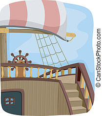 Pirate Ship Steering Wheel - Illustration Featuring the...