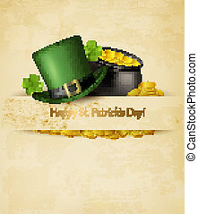 Saint Patrick's Day background with clover leaves, green hat...
