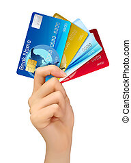 Hand holding credit cards. Vector illustration.