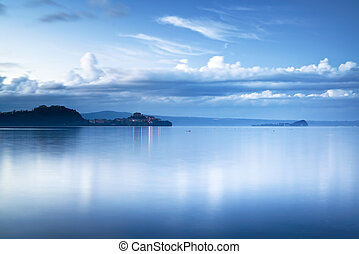 Capodimonte village in Bolsena lake on sunset, Italy -...