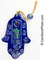 Hamsa hand amulet, used to ward off the evil eye - ceramic...