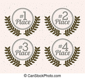 first place over white background vector illustration