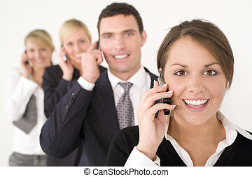 Business Communications Team - A businesswoman and three...