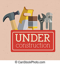 under construction over dotted background vector...