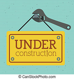 under construction over blue background vector illustration...